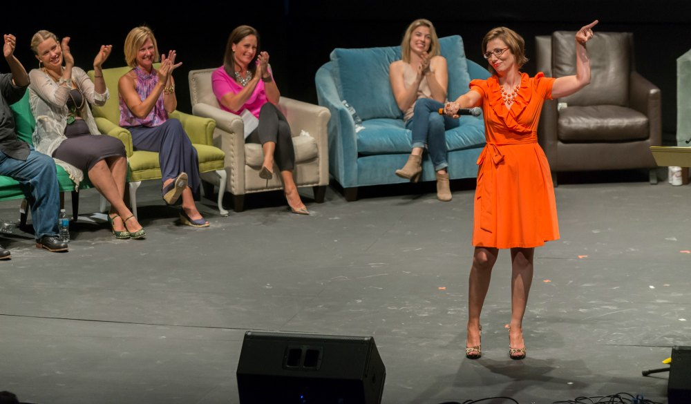 Leslie Marinelli starring in That's What She Said on Saturday, July 19, 2014. Photo by Darrell Hoemann.